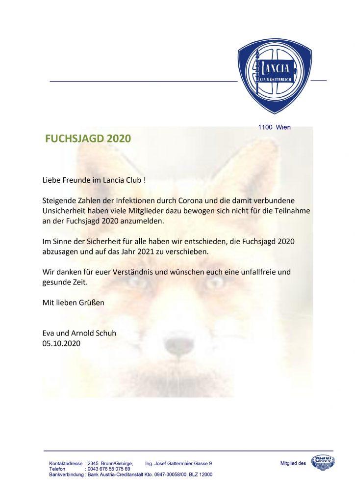 Absage Fuchsjagd